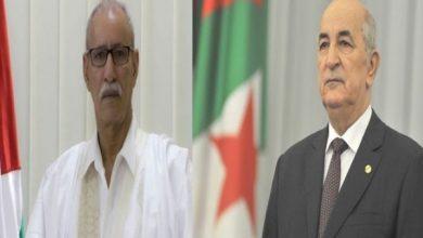 صورة رئيس جمهورية الصحراء الغربية يهنئ الرئيس تبون بعد عودته للجزائر