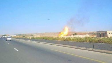 صورة معسكر: إنفجار أنبوب غاز بمنطقة زهانة
