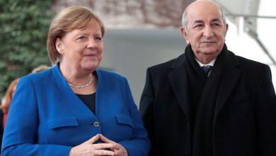 صورة رئيس الجمهورية يعزي المستشارة الألمانية ميركل في ضحايا الفيضانات