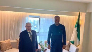 صورة لعمامرة يتباحث مع وزير خارجية نيجيريا اهم المشاريع الاستراتيجية
